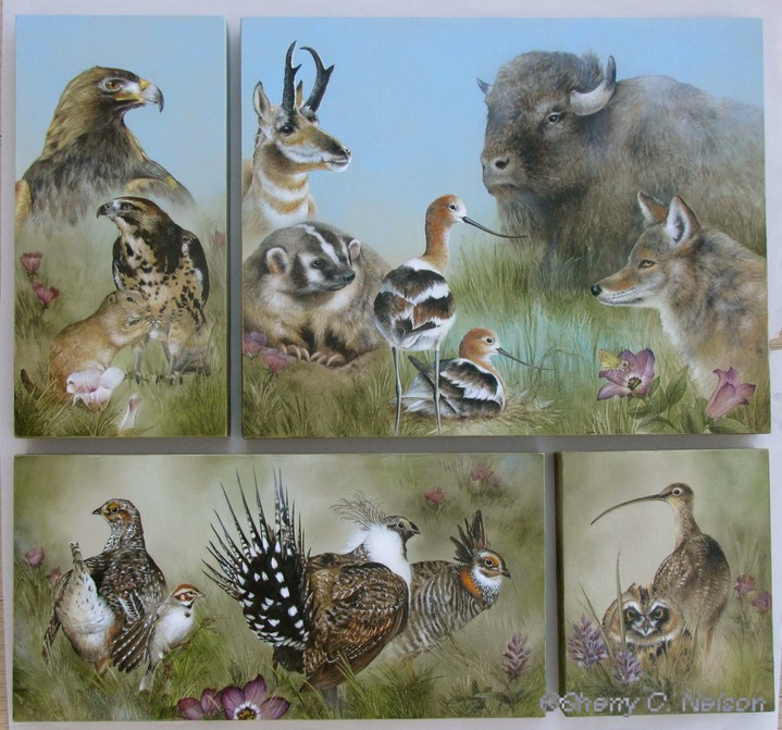 1.  Set of 4 - Faces of the Great Plains - $995.00
