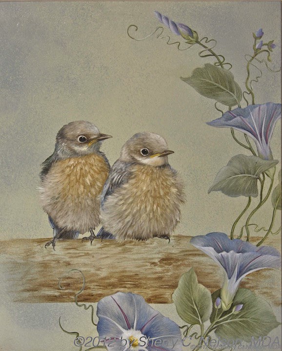 "47. Baby Bluebirds w/ Morning Glories, 8"" x 10"" - $155.00"