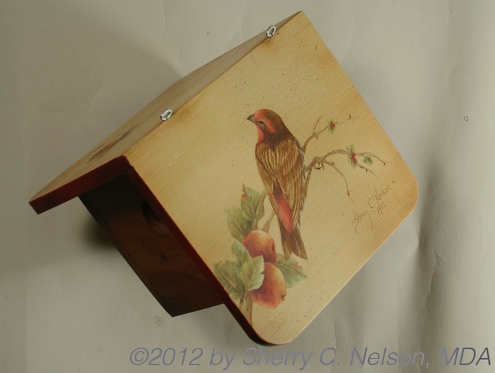 "53. House Finch w/ Apples Bird House, 8"" x 7"" (View 2)"