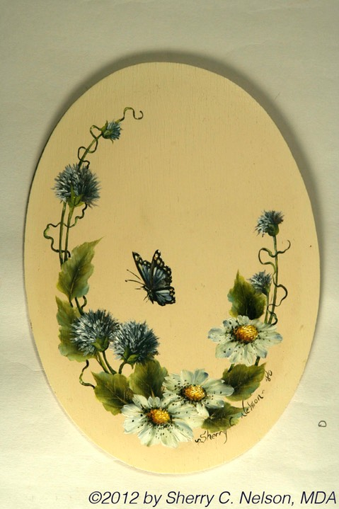 "54. Butterfly & Bachelor Buttons, 6"" x 8"" oval - $35.00"