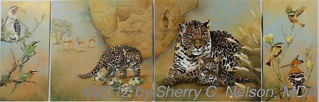 "6.  Set of 4 - Leopard Country,  60"" x 20"" - $995.00"